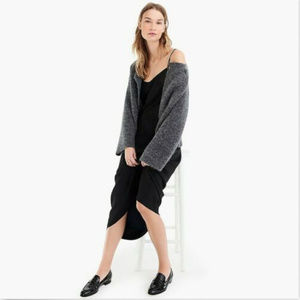 J. CREW GREY DOUBLE BREASTED COLLARLESS CARDIGAN